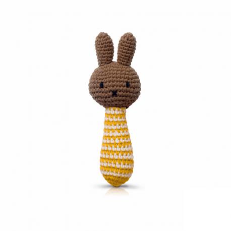 nina handmade gele streepjes rammelaar